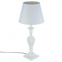 Lampe en bois patiné blanc H56