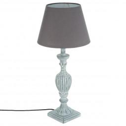 Lampe en bois patiné gris H56