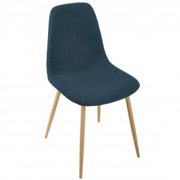Chaise Velours Bleu Denim Roka