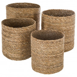 Lot de 4 paniers en seagrass naturel