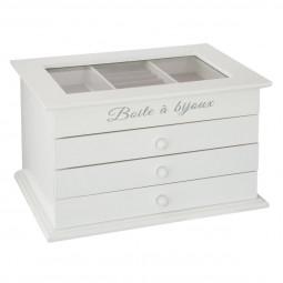 Boîte à bijoux blanche avec 3 tiroirs