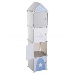 Rangement colonne 4 cases gris et bleu