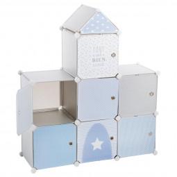 Rangement château 7 cases gris et bleu