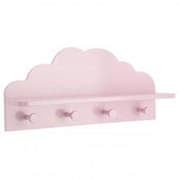 Patère nuage rose 4 Crochets et 1 Tablette