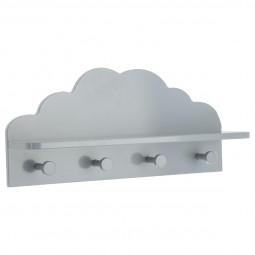 Patère nuage gris 4 Crochets et 1 Tablette