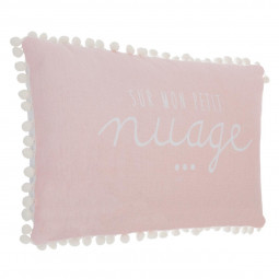 Coussin rose « Pompon » 30x50