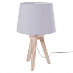 Lampe grise 3 pieds en bois 18,5x31