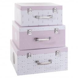 Lot de 3 Boîtes carton rose «Malle» 30/33/36
