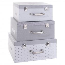Lot de 3 boîtes carton gris «Malle» 30/33/37