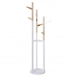 Porte-manteaux blanc en bois 30x135