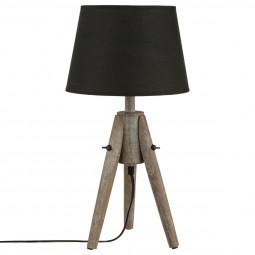 Lampe en bois et abat-jour cône