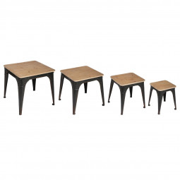 "Set de 4 Tables gigognes noires  ""Torof"""