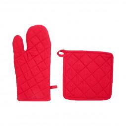 Gant de cuisine et manique rouges en coton