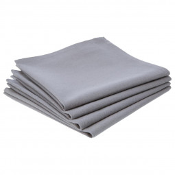 Lot de 4 serviettes de table grises claires en coton