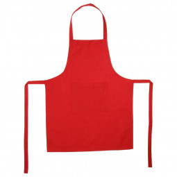 Tablier rouge 1 poche en coton 60x80 cm