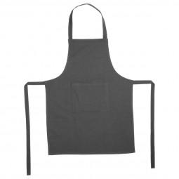Tablier gris foncé 1 poche en coton 60x80 cm