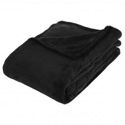 Plaid microfibre noir 130x180