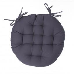 Galette de chaise ronde gris foncé D40 cm