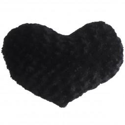 Coussin coeur boucle noir 28 x 36 cm