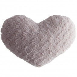 Coussin coeur boucle rose 28 X 36 cm