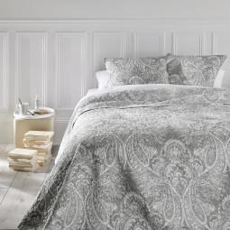 """Dessus de lit gris clair """"Marie"""" 240x260 + 2 têtes d'oreillers gris clair 60x60"""