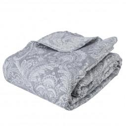 Dessus de lit Marie 240x260 cm + 2 têtes d'oreillers gris clair
