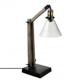 Lampe en bois/métal et abat-jour en verre