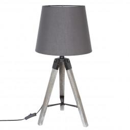 Lampe Trépied en Bois et abat-jour Gris Runo H 58 cm