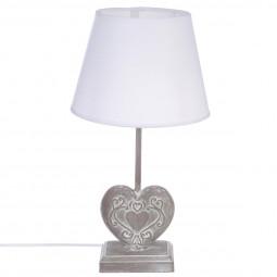 Lampe à poser Coeur Pied en bois H 49 cm style Romance