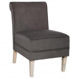 Lot de 2 fauteuils en velours gris Alphée