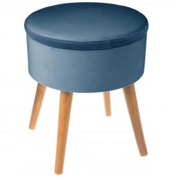 """Tabouret coffre bleu foncé """"Tess"""" en velours D36"""
