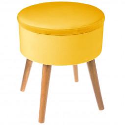 "Tabouret coffre moutarde ""Tess"" en velours D36"