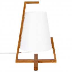 Lampe bambou & abat-jour plastique H31