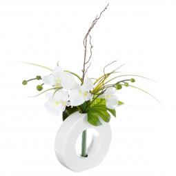Composition d'orchidées avec vase céramique H44