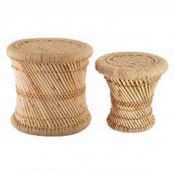 Lot de 2 tables d'appoint en corde naturel