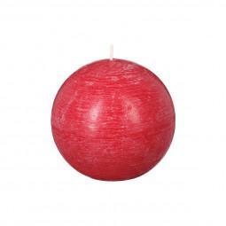 Bougie boule rustique rouge D 10 cm