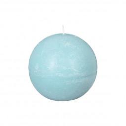 Bougie boule rustique turquoise D 10 cm