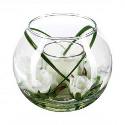 Composition florale en vase H 10 cm