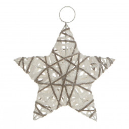 Décoration Sujet de Noël Étoile en métal et rotin pailleté D 15 cm Un Noël kinfolk
