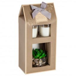 Coffret 2 bougies + Plante artificielle