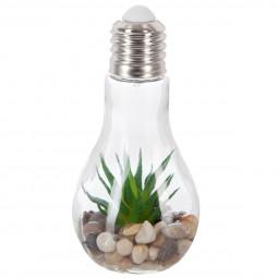 Plante artificielle dans une Ampoule LED en verre H 18.5 cm