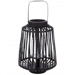 Lanterne tressée noire en rotin H 35 cm