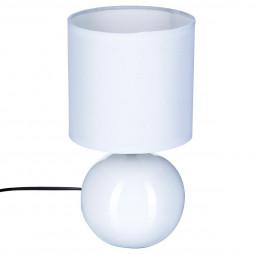 Lampe en céramique Pied Boule Blanc H 25 cm