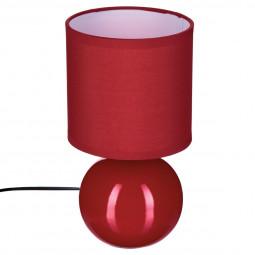 Lampe en céramique Pied Boule Rouge H 25 cm