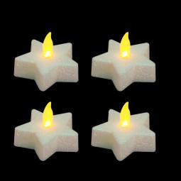 Lot 4 Bougies lumineuse à LED Etoile Blanc pailleté D 5 cm Colorama de Noël