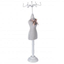 Porte bijoux forme Mannequin en Bois et Lin H 40,5  cm