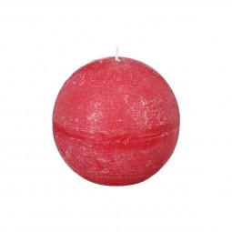 Bougie boule rustique rouge D8