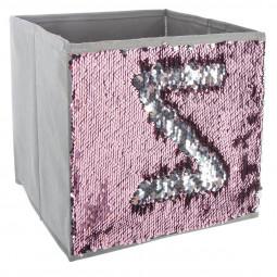 Bac de rangement sequin argent/rose