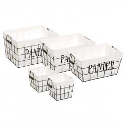 Lot de 5 paniers rectangles Welcome Black
