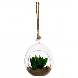 Plante artificielle + Boule en verre